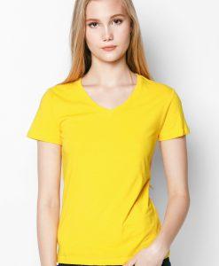 áo thun 100% cổ tim màu vàng