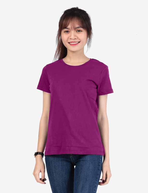Áo thun nữ cổ tròn màu tím