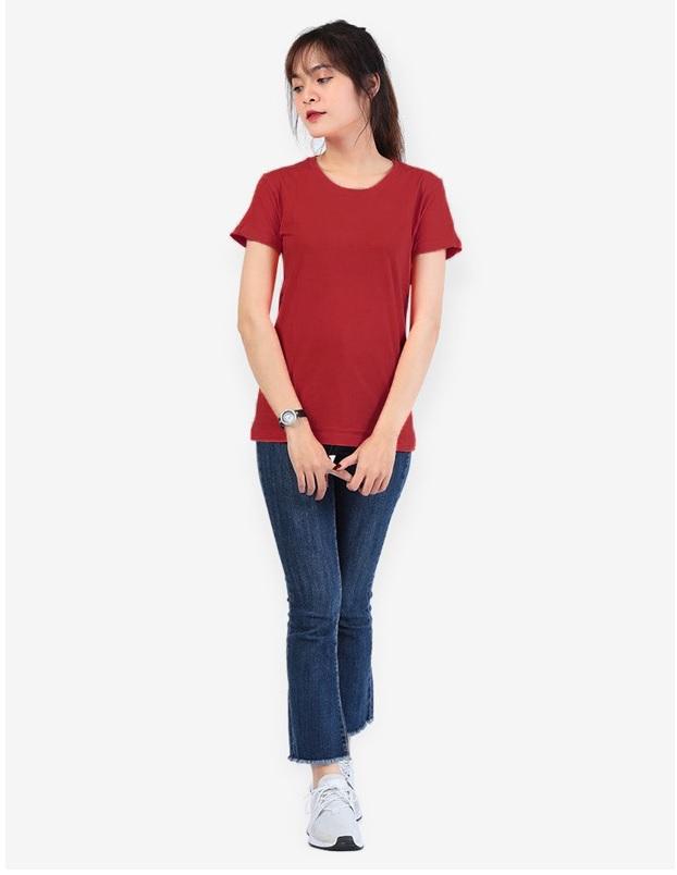 Áo thun trơn nữ cổ tròn màu đỏ