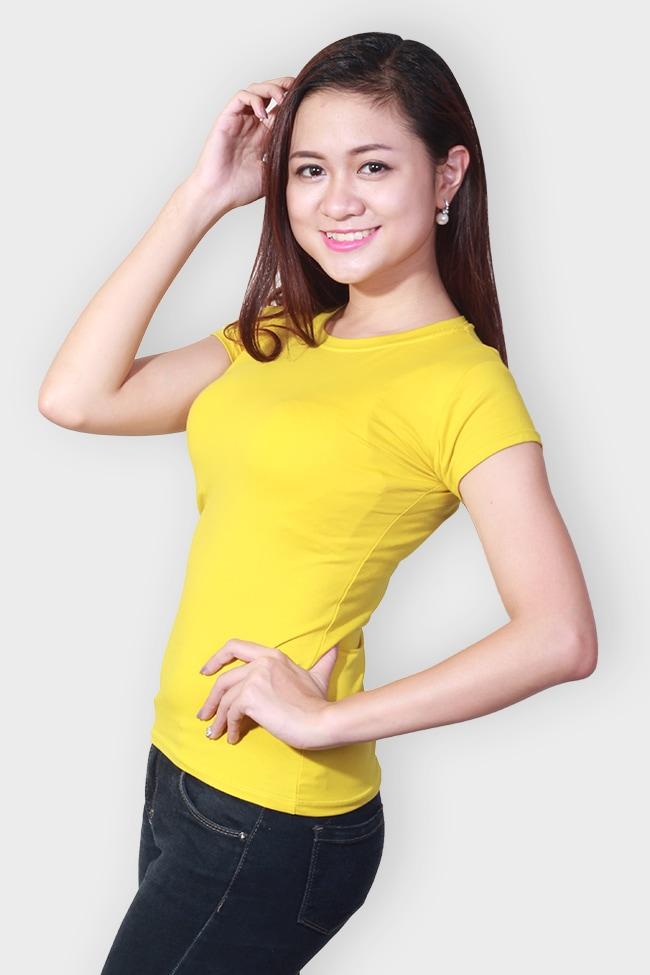 Áo thun trơn nữ cổ tròn màu vàng