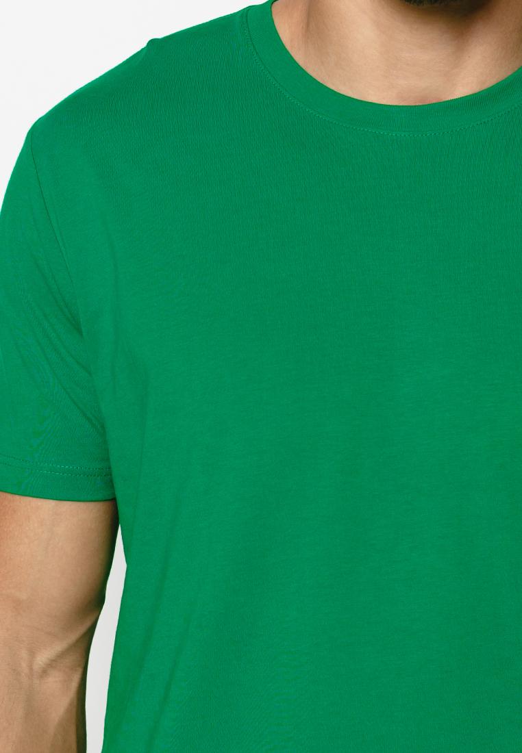 Áo thun nam trơn cổ tròn màu xanh lá cây