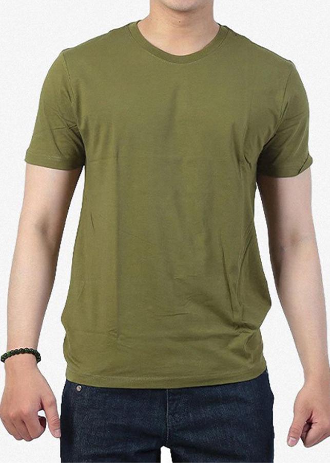 áo thun trơn nam cổ tròn màu xanh rêu