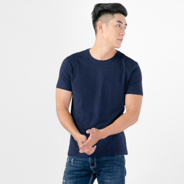 áo thun nam cổ trơn màu xanh sẫm