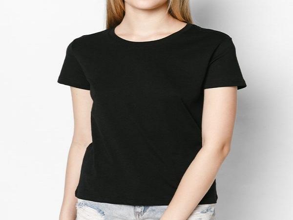 Áo thun trơn nữ màu đen