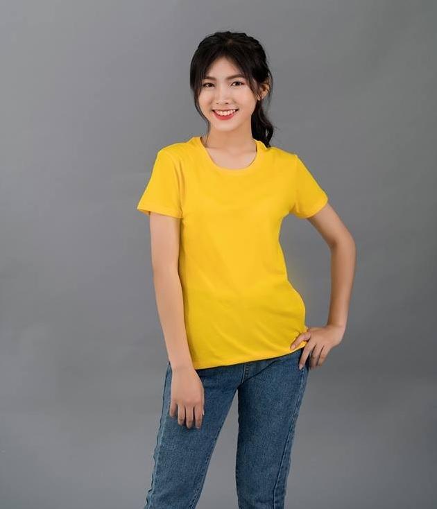 Áo thun trơn nữ màu vàng