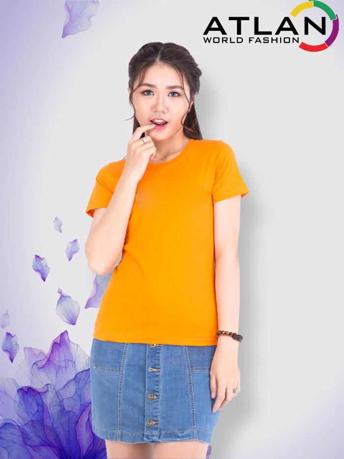 Áo thun trơn nữ màu cam