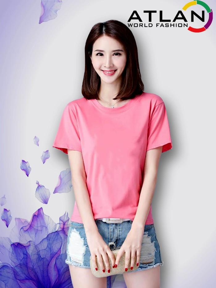 Áo thun trơn nữ màu hồng