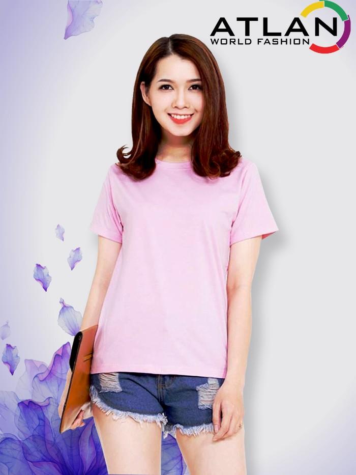 Áo thun trơn nữ màu hồng phấn