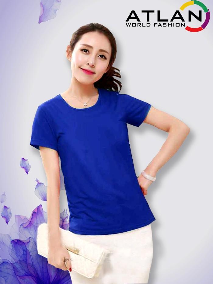 Áo thun trơn nữ màu xanh dương đậm