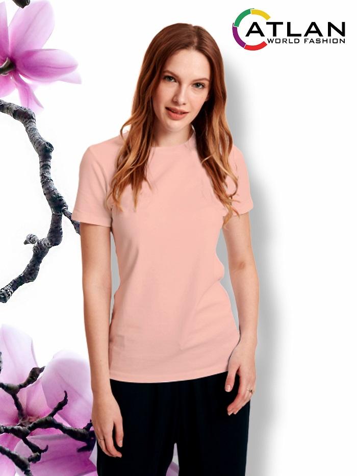 Áo thun trơn nữ màu hồng da