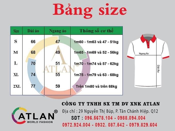 Bảng size áo thun Atlan