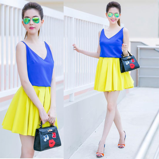 Phối màu xanh và vàng