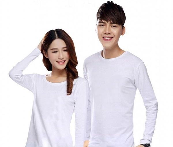 Áo cặp trắng trơn dài tay