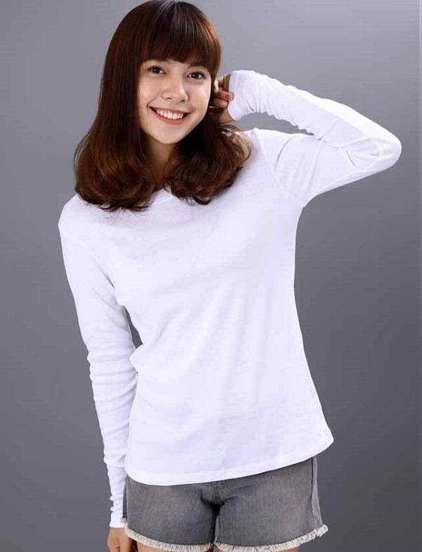 Áo thun trắng trơn tay dài cho nữ