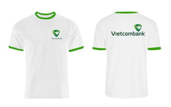 in áo thun đồng phục vải Cotton 65% và 35% PE ngân hàng Vietcombank