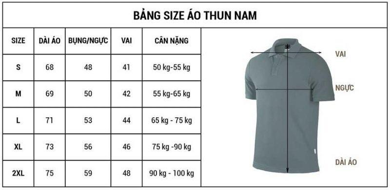 Bảng size đặt may đồng phục số lượng ít